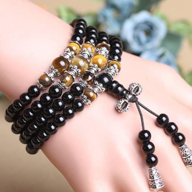 Fashion 6mm Black Agate Tiger Eye Buddhist Prayer Mala Beads Bracelet