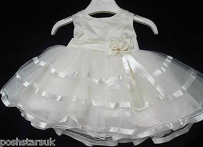 Battesimo Fiore Ragazze Festa Matrimonio Damigelle Pageant Dress 0-24m Avorio Baby-