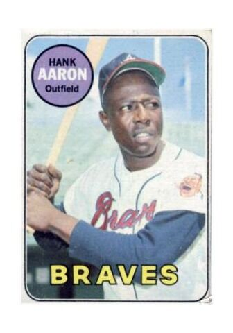 1969 TOPPS #100 HANK AARON ATLANTA BRAVES BASEBALL CARD