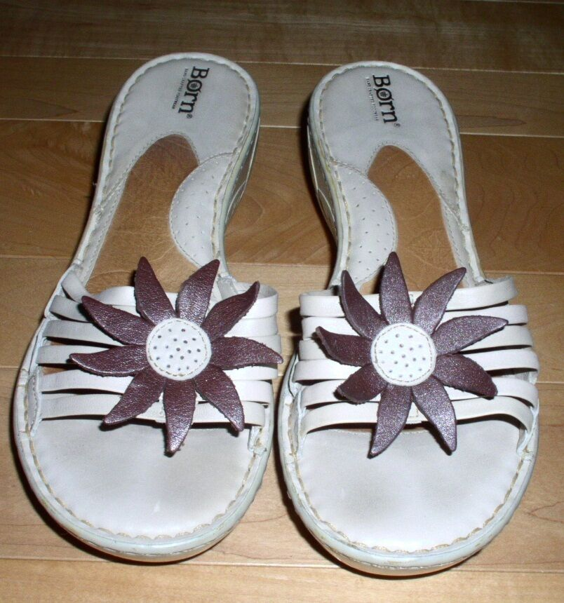 Born Wms Ivory Leather Sandals 11 Cute Must C