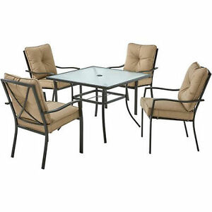 Patio Dining Set 5 Piece Glass Top Table And 4 Chairs With Tan Cushion Garden