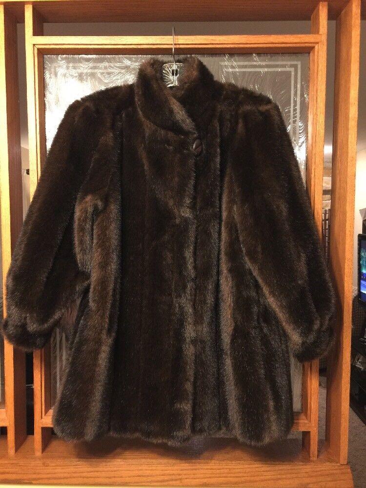 Hillmoor New York Faux Fur Coat Brown Size M