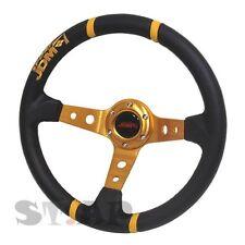 Jdmsport Deep Dish 350Mm 100% Leather Steering Wheel Fit 6 Bolt Hub Yellow/Black