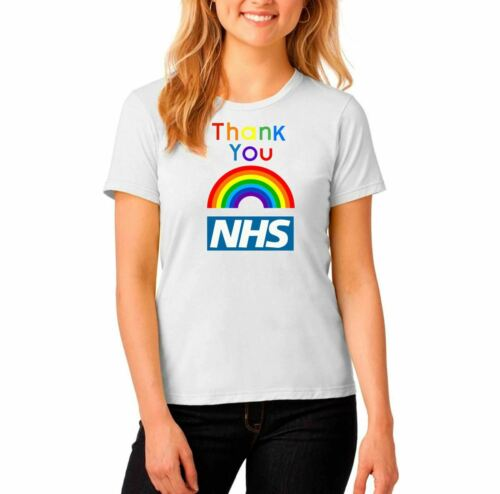 Girls Thank You NHS Rainbow Short Sleeve Top Shirt Cotton Tee Print T Shirt 8050