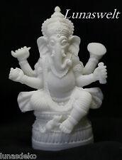 Ganesha Statue mit aus weißen Alabaster mit Kunstharz