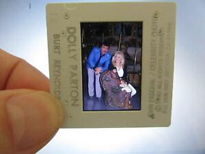 Original-Press-Photo-Slide-Negative-Dolly-Parton-amp-Burt-Reynolds-1992