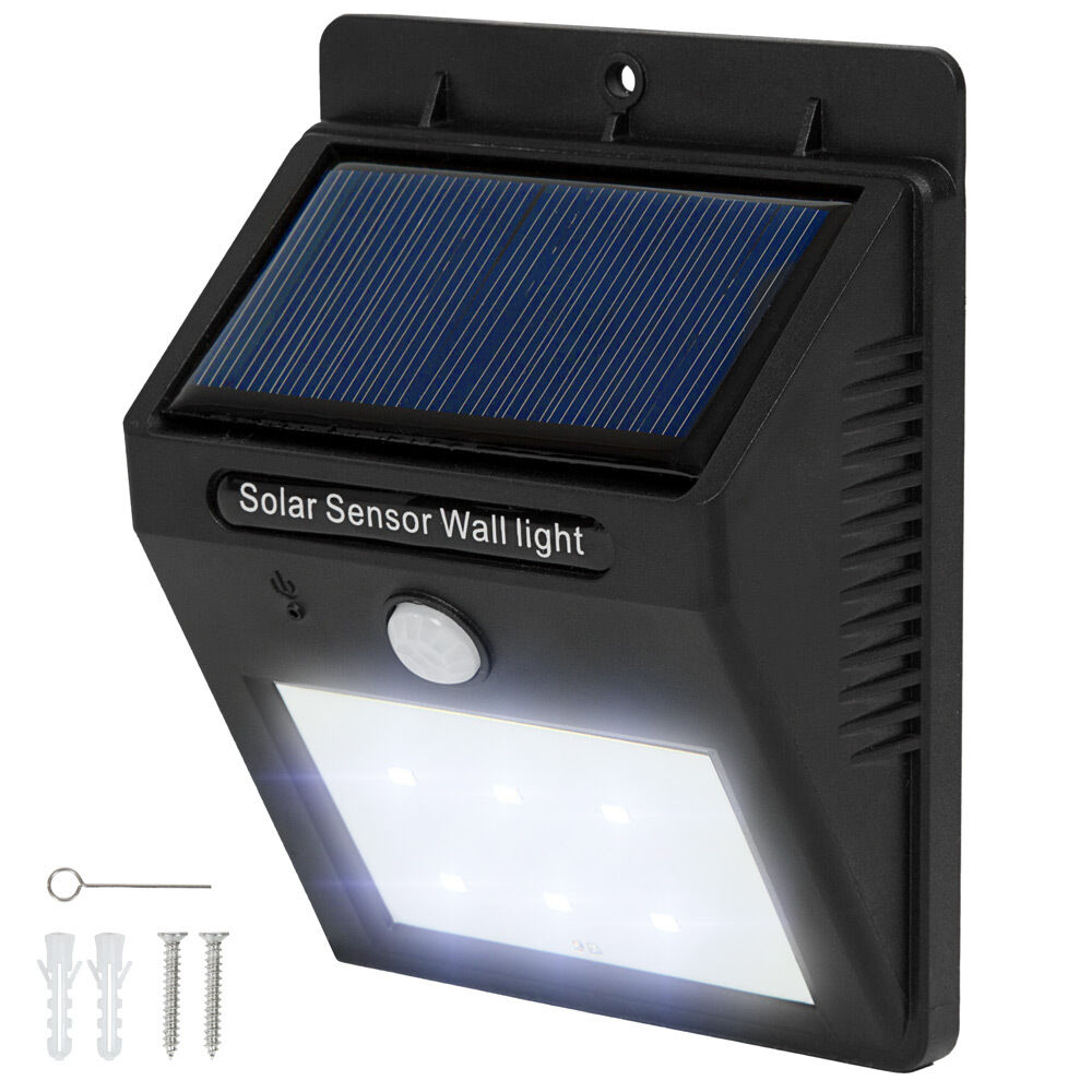 6 LED Solar Außenleuchte Wandlampe Gartenleuchte Bewegungsmelder Lampe Garten