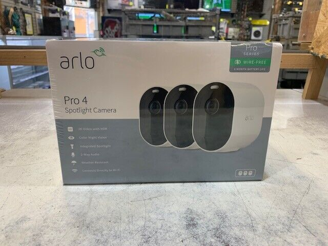 Arlo Pro 4 Spotlight Camera - Set of 3. Buy it now for 440.00