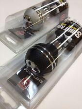 UNIVERSAL CARBON LEATHER BLACK SILVER SPORT METAL GEAR SHIFT LEVER  KNOB SK-348