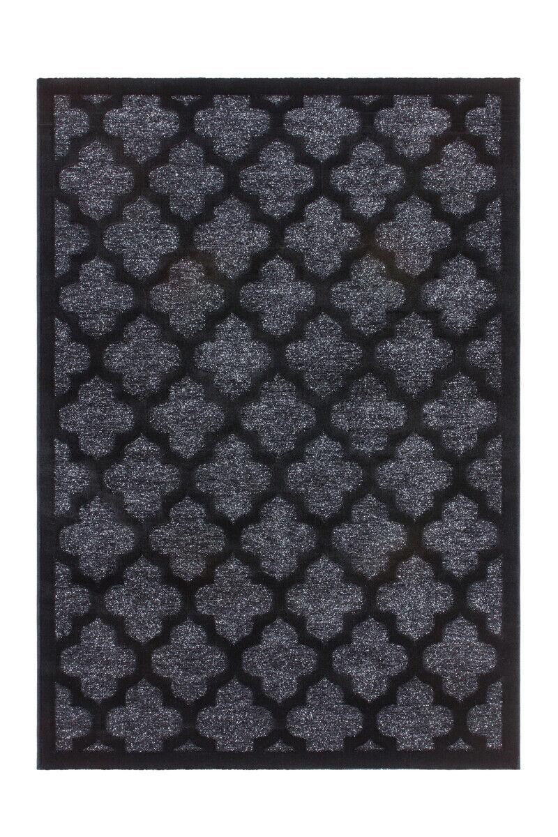 Tapis Classique Modern Lurex éclat Maroc motifs noir argent 80x300cm