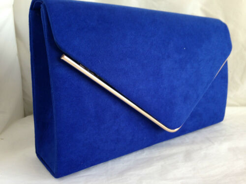 NEW PALE POWDER BLUE FAUX SUEDE EVENING DAY CLUTCH BAG WEDDING CLUB PARTY PROM