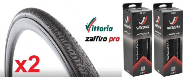 2x Vittoria Zaffiro Pro Road Training Tyre 700x25 700C Foldable Clincher - BLACK