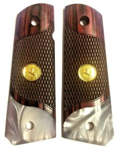1911-GRIPS-for-Colt-Gold-Medallion-Mother-of-Pearl-Rosewood-Bottom-Luster-Pearl