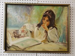 Young-Female-Reading-Original-Oil-on-Board-Signed-Thein