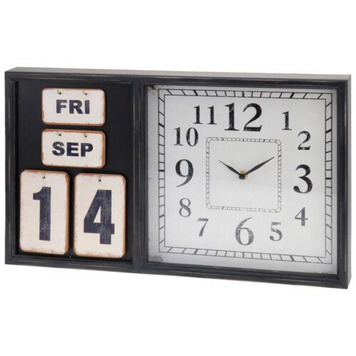 Vintage Uhr hergestellt aus MDF Wanduhr mit Kalender modernes Design Wohnuhr