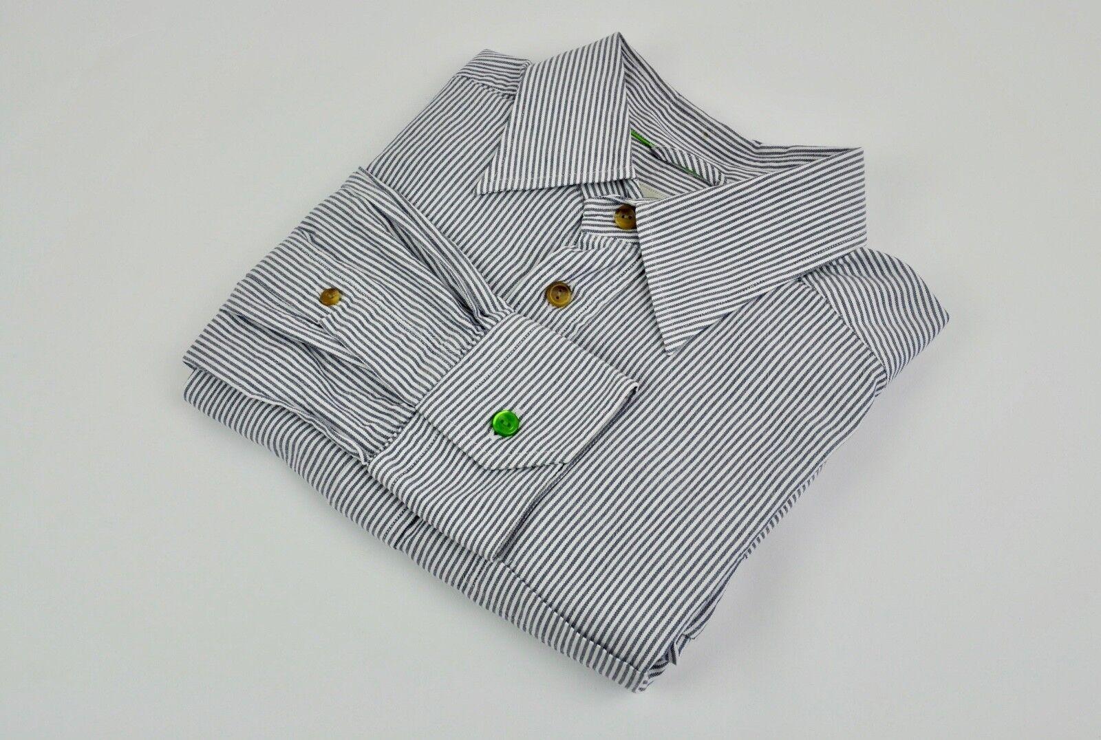 ETON Casual Slim Fit Shirt Medium Men's Size 40 Grey Button Single Cuffs M Dress