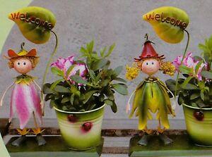 Dekofigur Mit Blumentopf Metall Garten Dekoration Deko