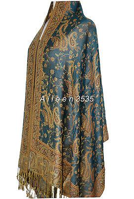 Gorgeous Pashmina & Silk Paisley Shawl-Teal#A