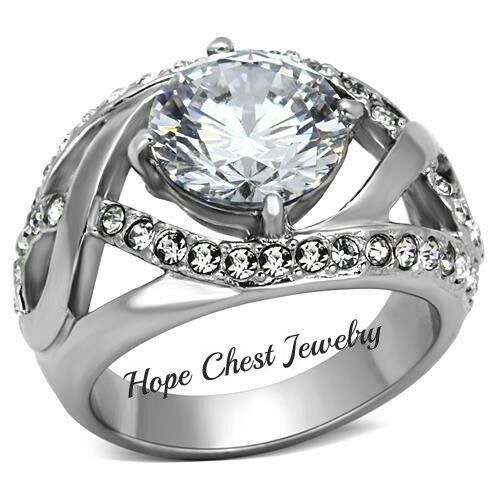 WOMEN'S SILVER STAINLESS STEEL 4.6 CT ROUND CUT CZ ENGAGEMENT RING SIZE 5, 7