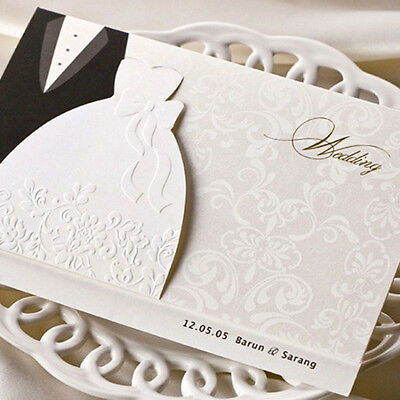 White Free Personlized Laser Cut  Invitation Cards With Bride And Groom Design