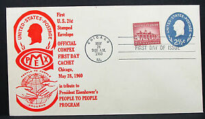 First-US-2-1-2c-Stamped-Envelope-FDC-Chicago-Eisenhower-USA-Day-Cover-H-7826