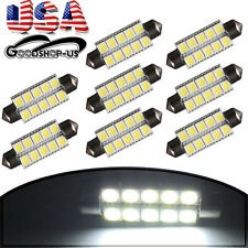8X White 44mm 5050 10SMD Festoon Car Cargo Dome Map Interior LED Light Bulb 6411