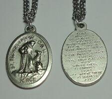 St Francis & Wolf of Gubbio Holy Medal w/ Peace Prayer - Animals Peace Merchants