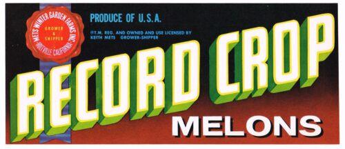 CRATE LABEL VINTAGE MELONS ORIGINAL ADVERTISING 1950S RECORD CROP HOLTVILLE