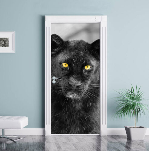 Magnificent Panther Black//White Door Decal 200x90cm Door Mural Door Sticker