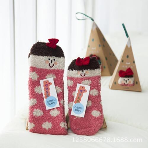 Winter Xmas Weihnachten Coral Fleece Socken Geschenk Box für Damen Mädchen FL