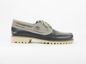 Homme-Timberland-A13V2-Classique-3-Eye-Bleu-marine-cuir-Gris-chaussures-bateau