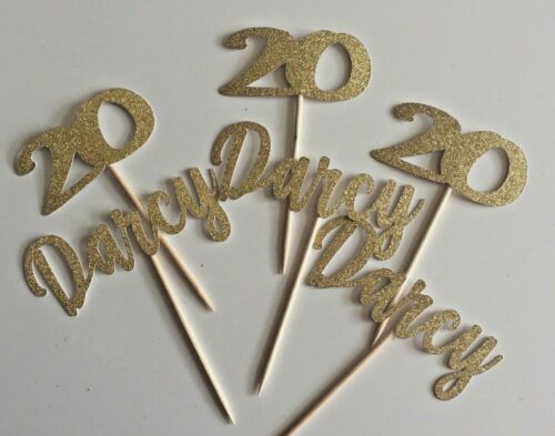 Custom Cupcake Toppers Name Age 16,18,21,25,30,40,Glitter Pack of 6