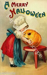 Fabric-Block-Halloween-Vintage-Postcard-Image-Girl-Carves-Jack-o-Lantern-Pumpkin