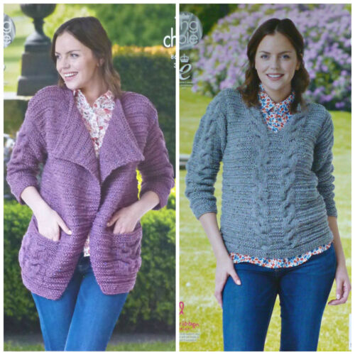 KNITTING PATTERN Ladies V-Neck Textured Jacket /& Jumper Chunky King Cole 4422