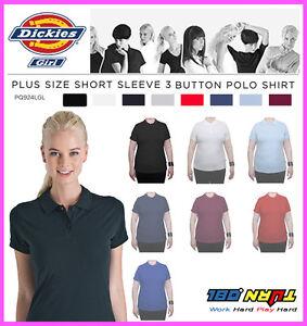 Dickies-Womens-Plain-Polo-Shirt-PQ924GL-Short-Sleeve-UNIFORM-LPGA-Plus-1X-4X
