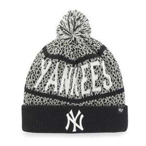 8cd08a7eac3 New York Yankees MLB Bedrock Cuff Pom Knit  47 Beanie Hat Cap Black ...