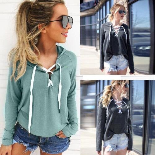 Women Hoodie Sweatshirt Lace Up Long Sleeve Crop Top Coat Sports Pullover Tops