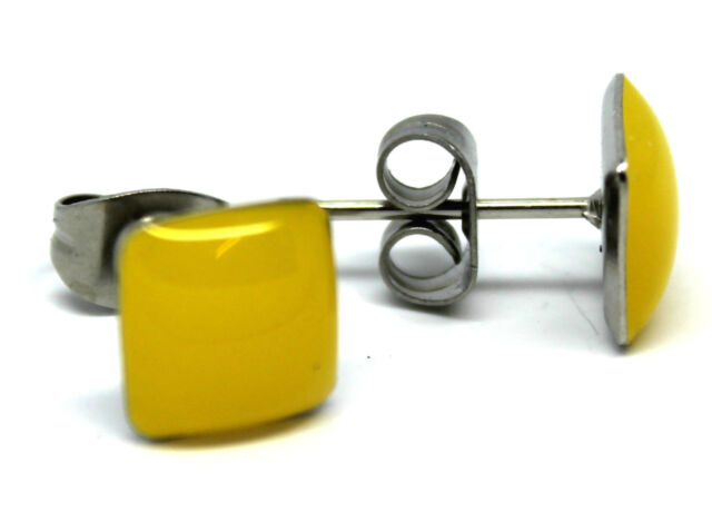 Pair Men Women Glow In The Dark Yellow Square Ear Stud / Studs Earrings Piercing