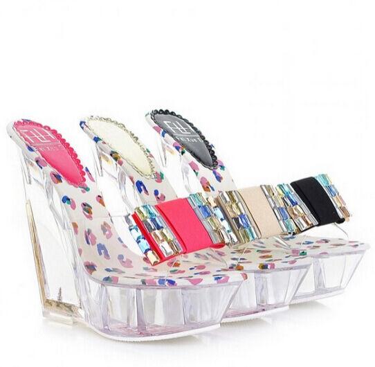 Summer Womens Mules Sandals Fashion Bowknot Wedge Heel Platform Slides shoes