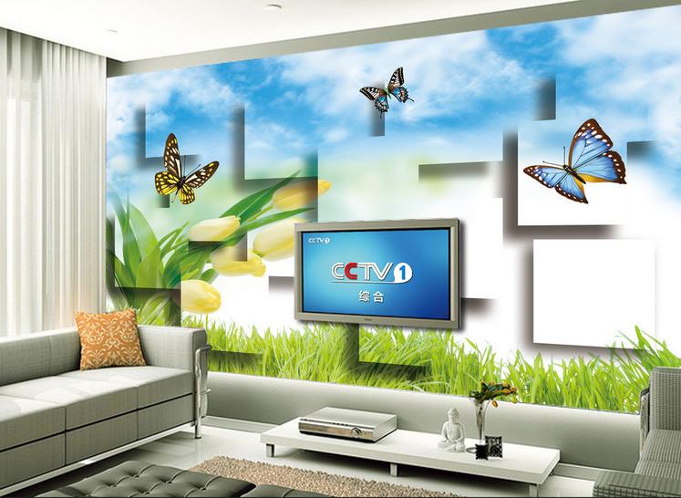 3D Schmetterling Tulpe 875 Tapete Wandgemälde Tapete Tapeten Bild Familie DE