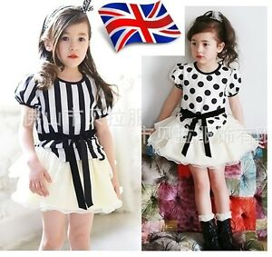 UK-Seller-Hot-Sale-New-Girls-Pretty-Lovely-Chiffon-Top-Skirt-2pc-Set-2-7-Years