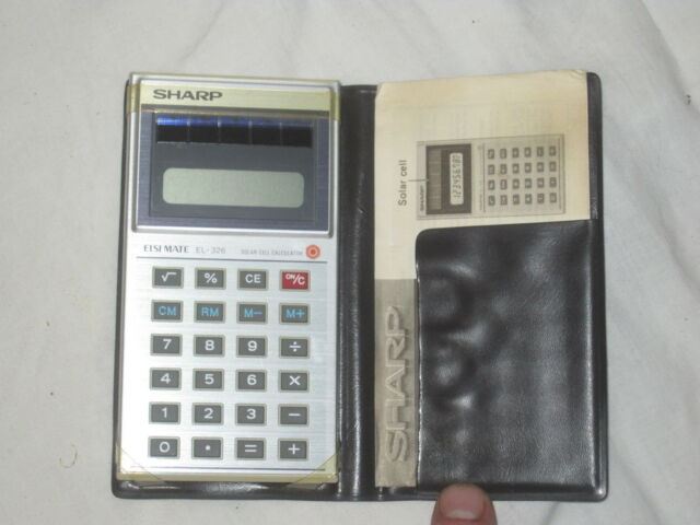 vintage Sharp EL-326S Calculator calculation math tool w/ booklet and soft case
