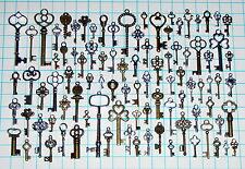 93 Antique Vtg old look Ornate Skeleton Key Lot Pendant Fancy Heart Bow Favors