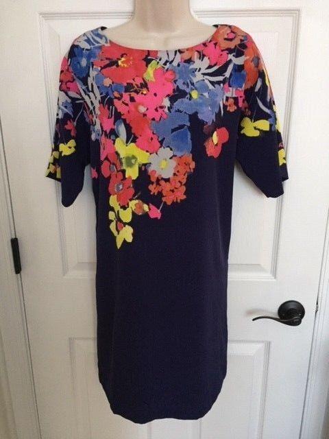 NWT () Ann Taylor Loft Navy bluee Floral Short Sleeve Dress, Small