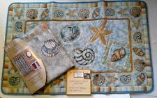 Popular Bath Brighton Seashells Blue Fabric Shower Curtain Hand Carved Bath Mat