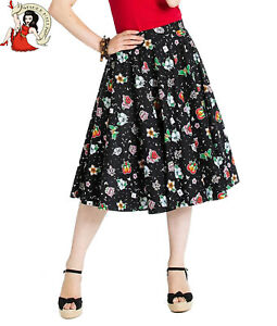 HELL BUNNY LOVEBIRD love FLORAL 50s VALENTINE rockabilly BLACK BLOUSE XS-4XL