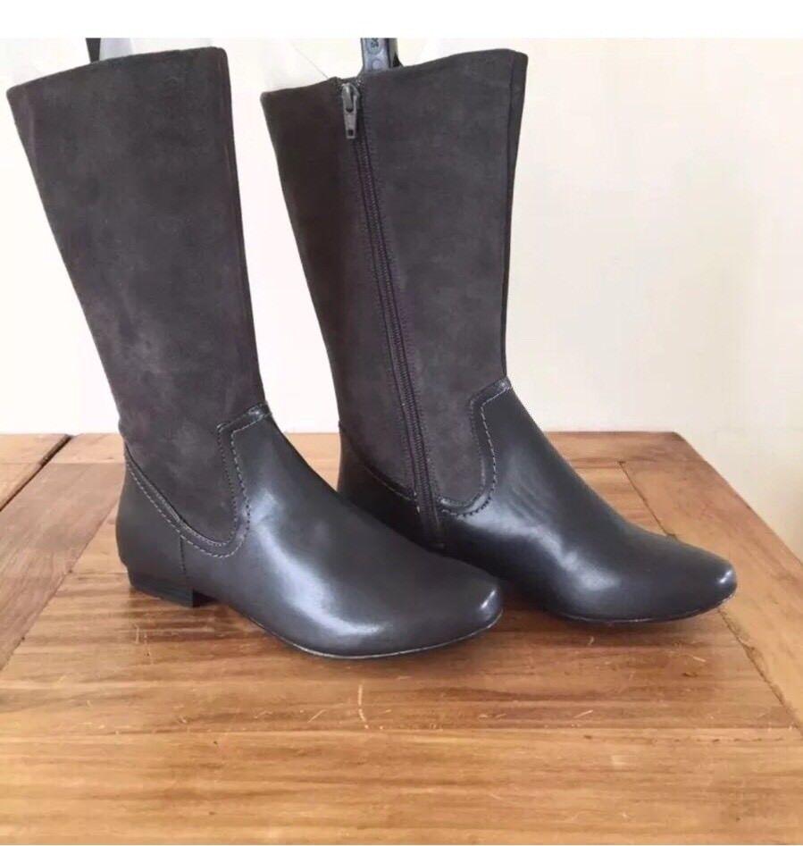 Clarks Originals Mountain Mist Dark Charcoal Leder Flat Heel Stiefel  UK 5 EU 38
