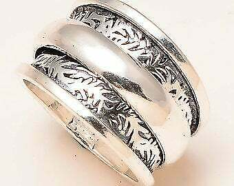 Solid 925 sterling silver band ring spinner silver Handmade Jewelry Ring Size 9