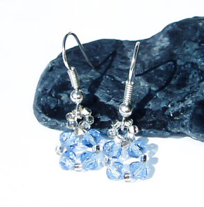 Blue-Crystal-Earrings-Handmade-Bridal-Jewelry-Dainty-Square-Dangle-Cute-Girl