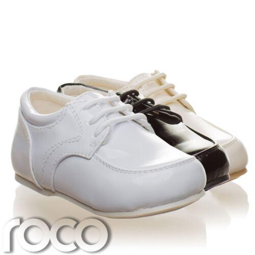 Per bambini Baby Ragazzi Bianco Scarpe Lacci Matrimonio Paggio per Battesimo kids shoes